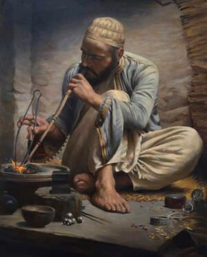 painting of arab jeweler
