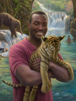 painting of a man holding a tiger