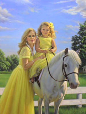 painting of mother, daughter and horse